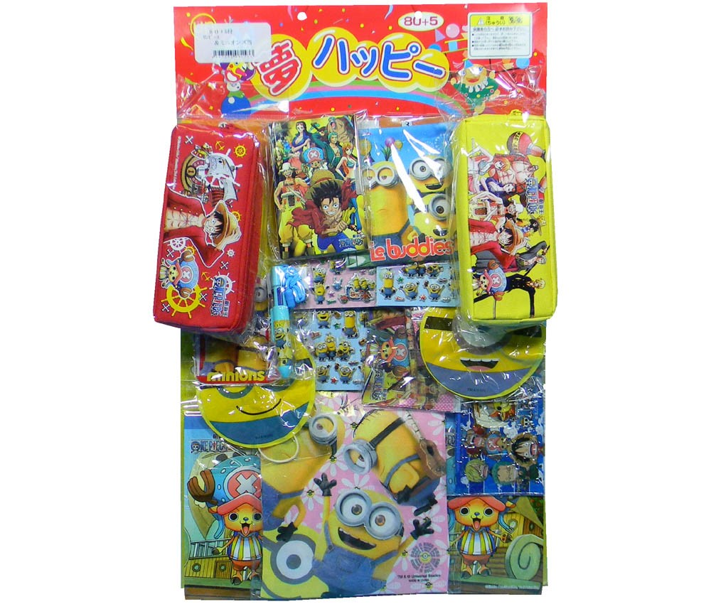 50yen value x 80pcs+5 Minions & One Piece on Cardbord Happy Raffle Game (Sample Picture)