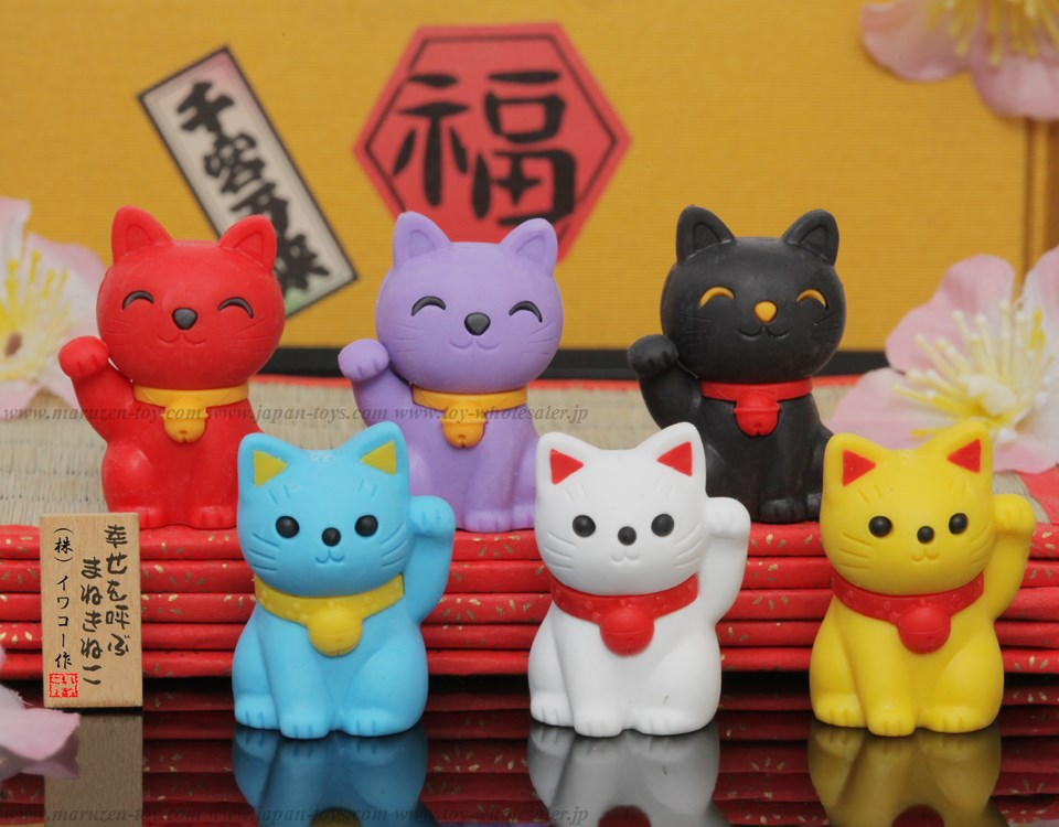 Lucky Cat Erasers -Made in Japan-