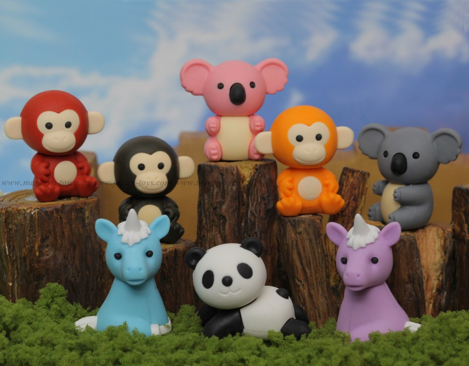 (IWAKO)-made in JAPAN-Forest Animal Erasers(Colors/Designes/Assortments may changed without Notice)