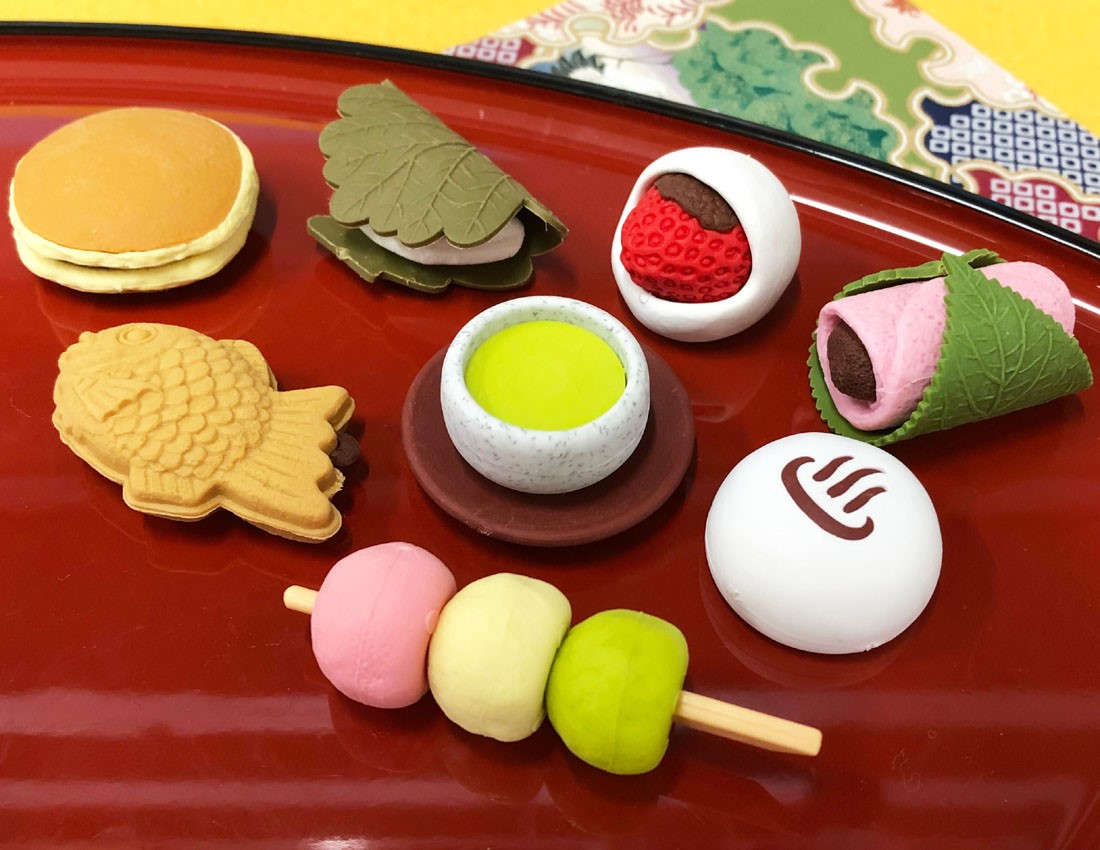 (IWAKO)-made in JAPAN-New Japanese Sweets Erasers(Display Box can be changed)