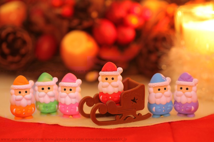 (IWAKO)-made in JAPAN-Santa Erasers (Colors/Designes/Assortments may changed without Notice)
