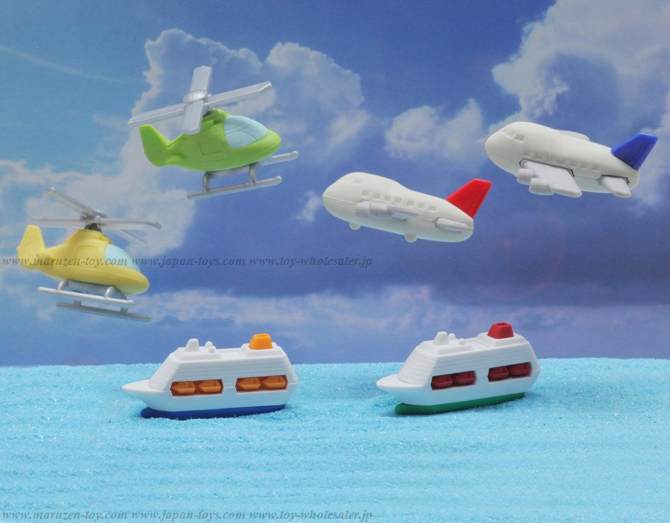 Airplane & Boat Erasers -Iwako Made in Japan- (Colors/Designes/Assortments may changed without Notice)