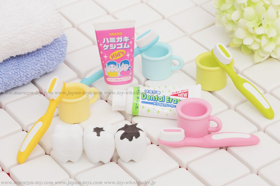 Toothbrushing Erasers -Iwako Made in Japan- (Colors/Designes/Assortments may changed without Notice)