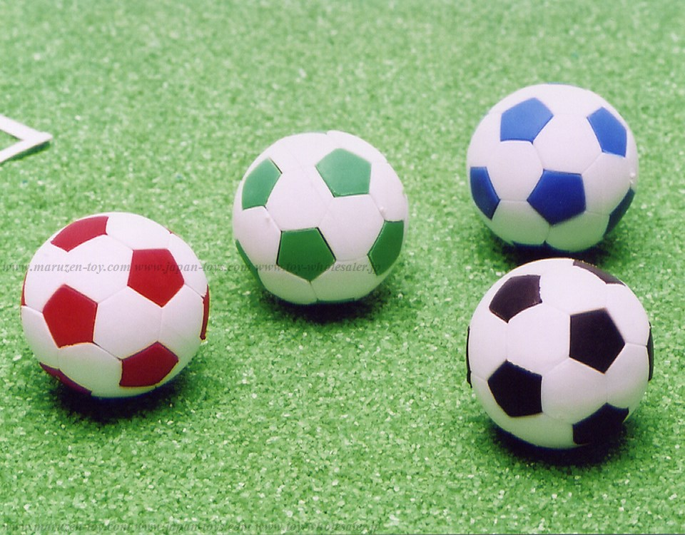(IWAKO)-made in JAPAN-Soccer Ball Erasers(Colors/Designes/Assortments may changed without Notice)