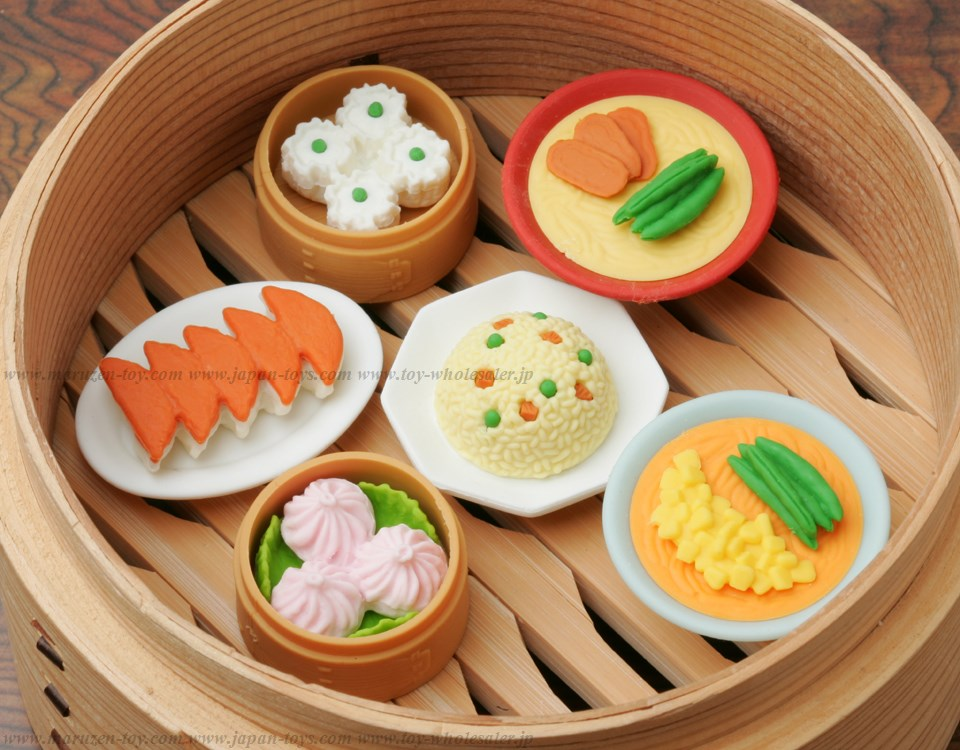 (IWAKO)-made in JAPAN-Chinese food Erasers(Colors/Designes/Assortments may changed without Notice)
