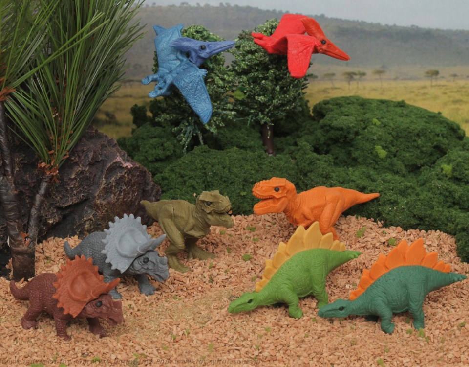 (IWAKO)-made in JAPAN-Dinosaur Erasers(Colors/Designes/Assortments may changed without Notice)
