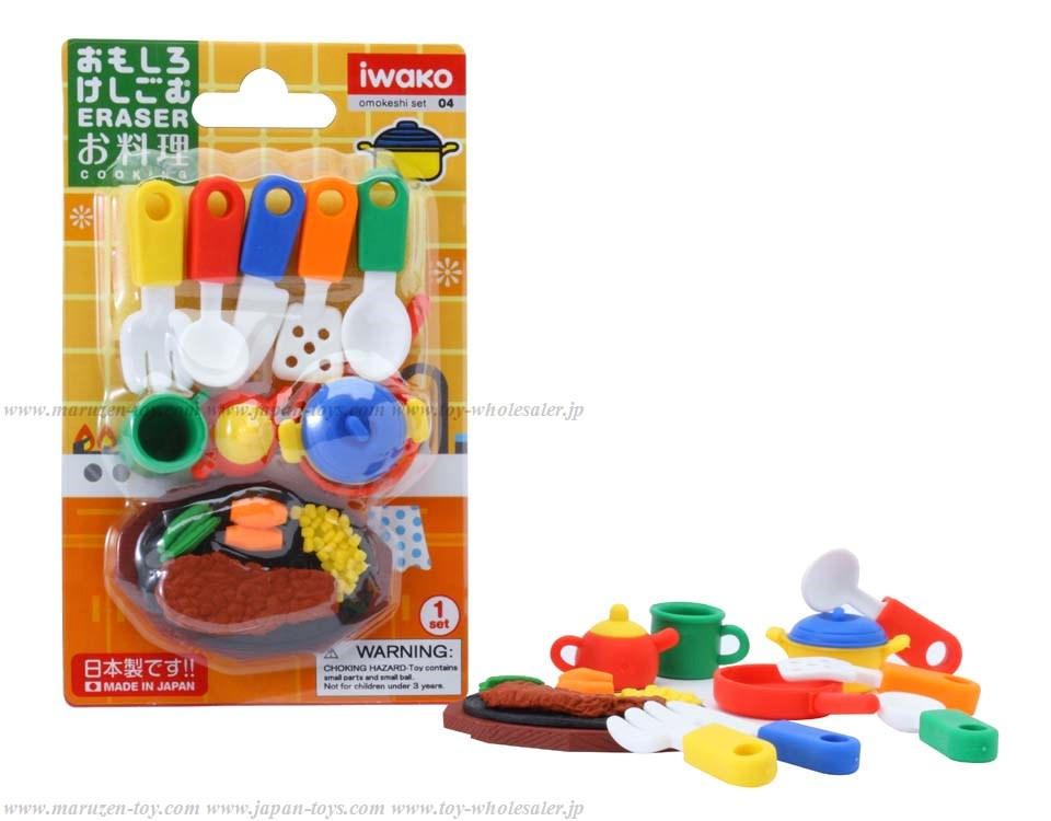 (IWAKO)-made in JAPAN-Blister Pack Erasers Cooking Erasers(Colors/Designes/Assortments may changed without Notice)