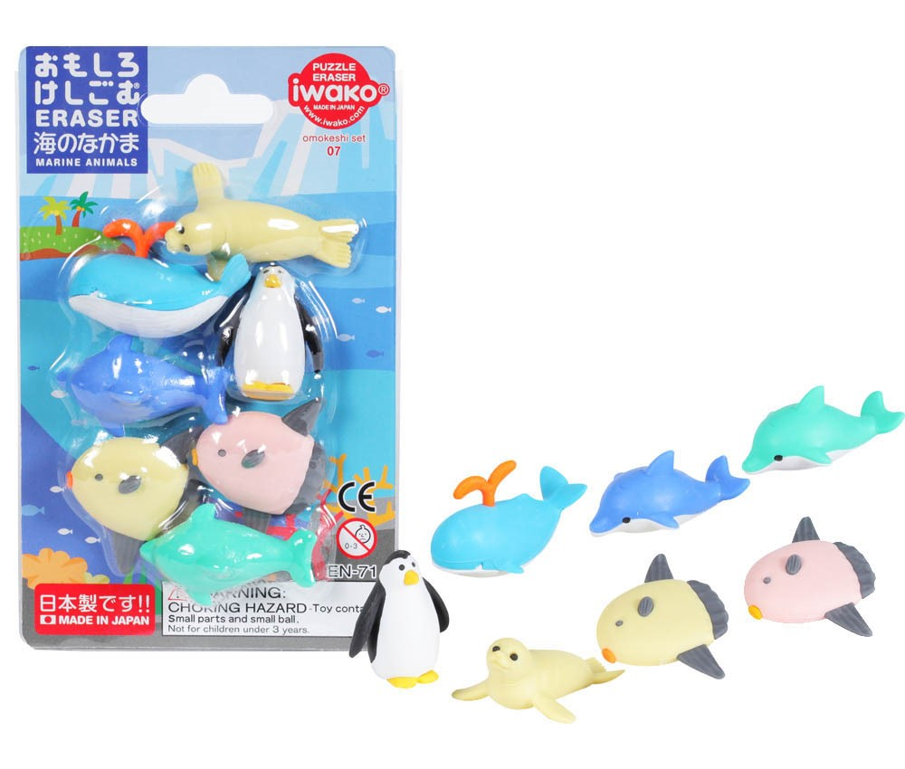 Marine Creature Erasers in blister -Iwako Made in Japan- (Colors/Designes/Assortments may changed without Notice)
