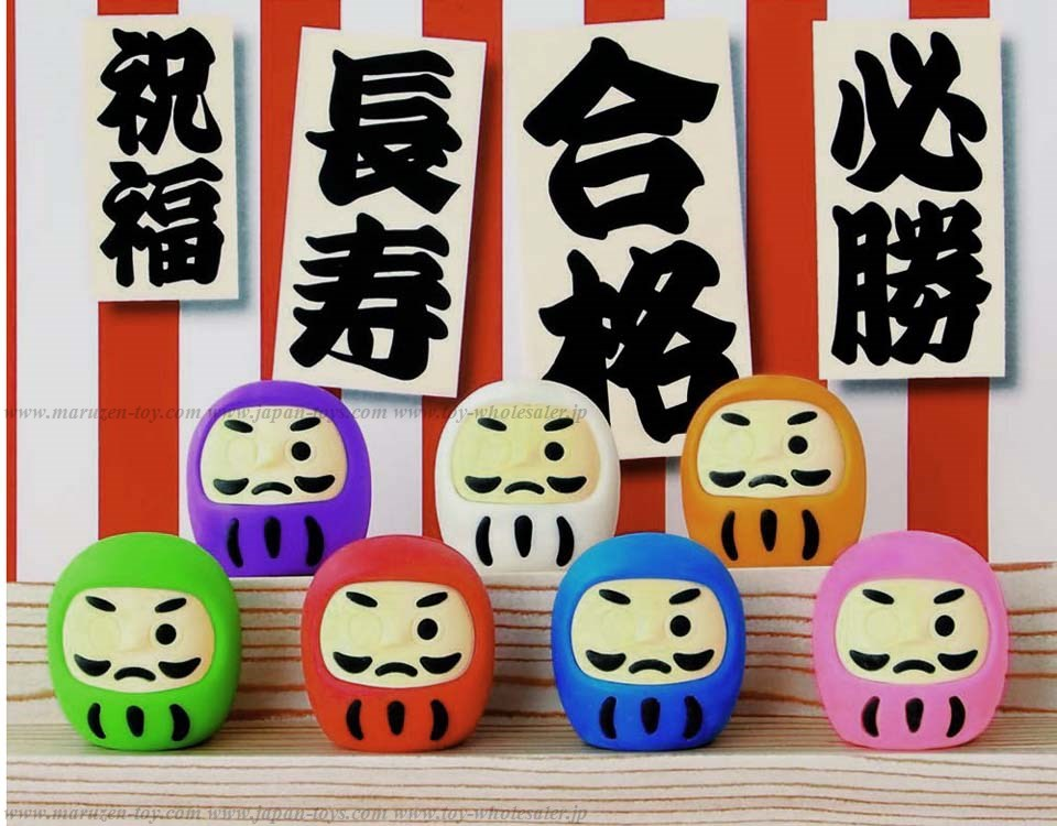 (IWAKO)(ER-DAL001)-made in JAPAN-Lucky Daruma Erasers(Display Box can be changed)