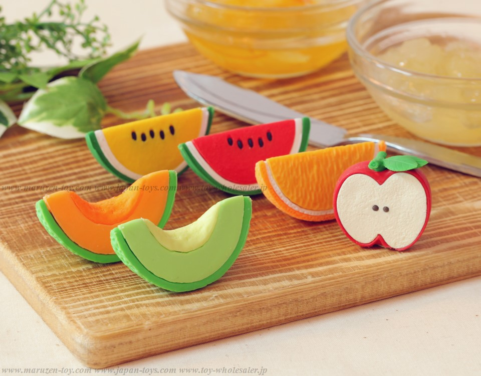 Iwako Cut Fruits Erasers -Made in Japan- (Colors/Designes/Assortments may changed without Notice)