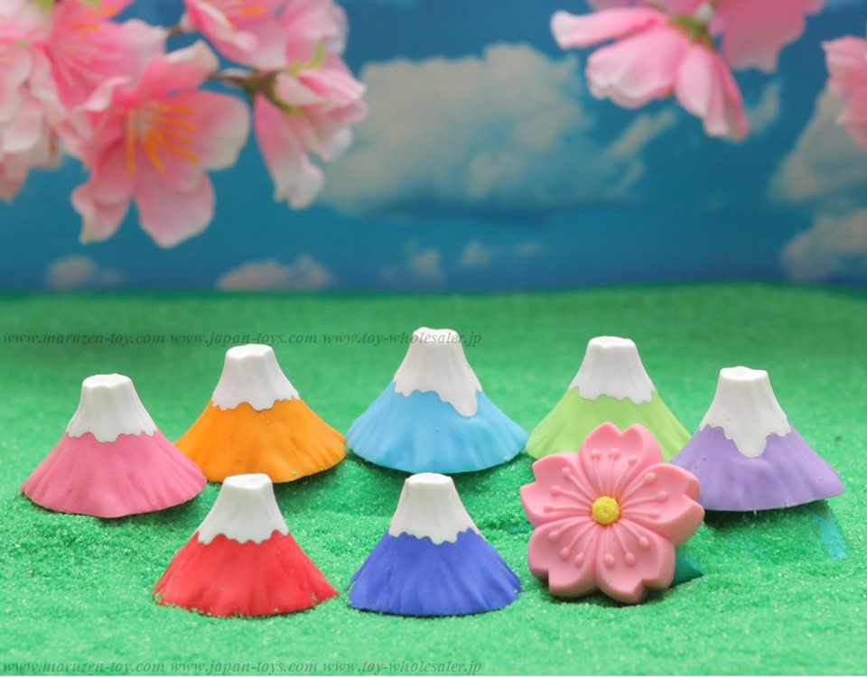Mt. Fuji and Cherry Blossoms Erasers -Iwako Made in Japan- (Colors/Designes/Assortments may changed without Notice)