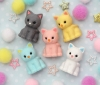 (IWAKO)-made in JAPAN-Pastel CAT Erasers(Colors/Designes/Assortments may changed without Notice)
