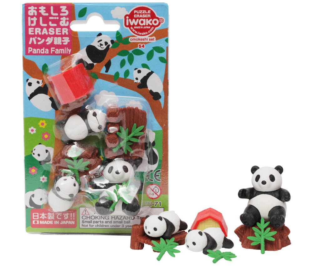 (IWAKO)-made in JAPAN-Blister Pack Erasers Parent and Child Panda (Colors/Designes/Assortments may changed without Notice)