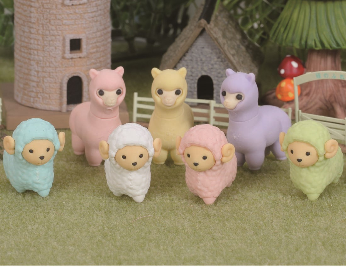 (IWAKO)(ER-HIT001)-made in JAPAN- Sheep and Alpaca Erasers(Display Box can be changed)