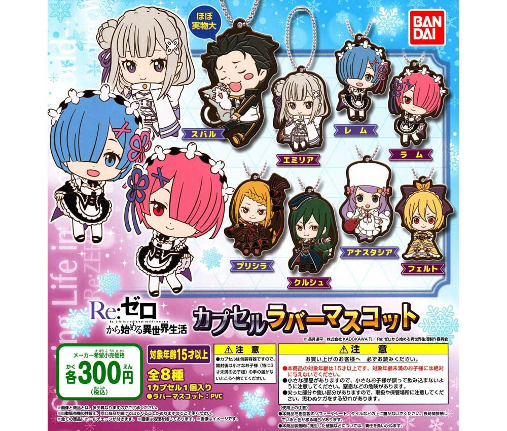 [Bandai JPY300 Capsule] Re:Zero -Starting Life in Another World- Capsule Rubber Mascot