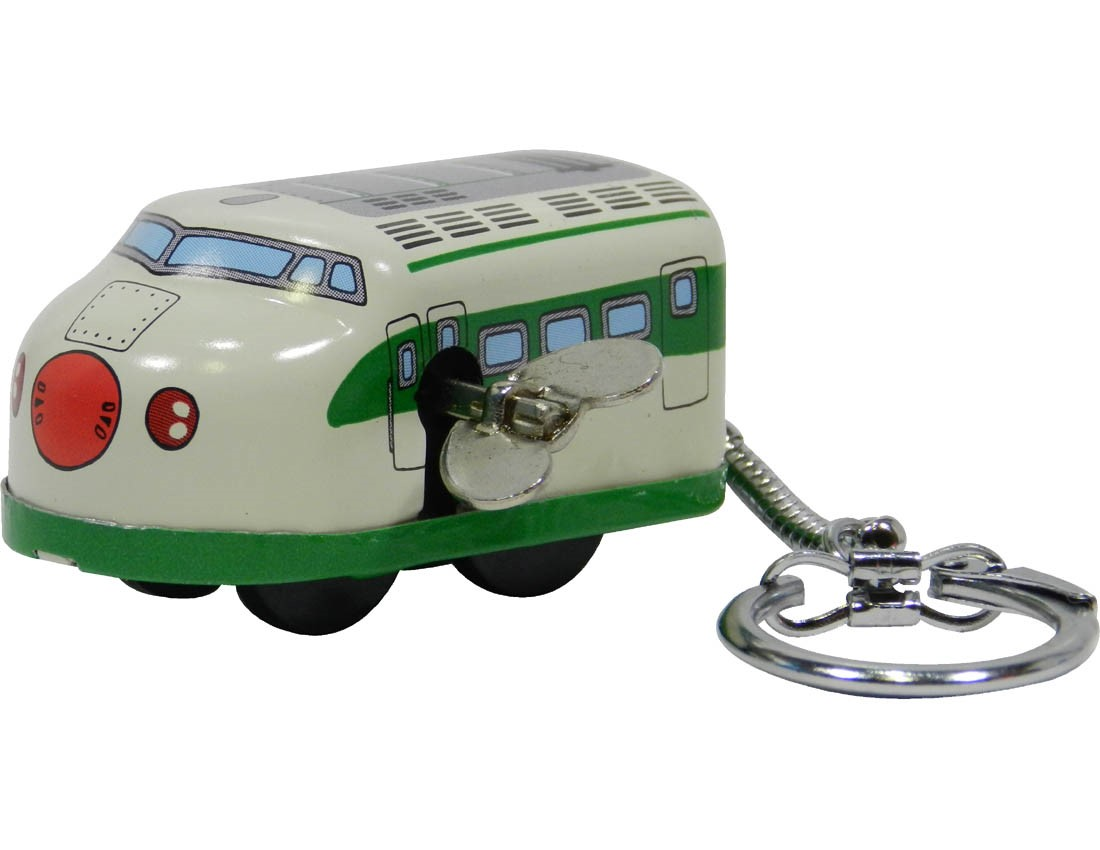 (Sankou-Seisakusyo made in Japan Tin Toys)No.203K Wind-Up Mini Shinkansen Keyholder in Green (No Box)
