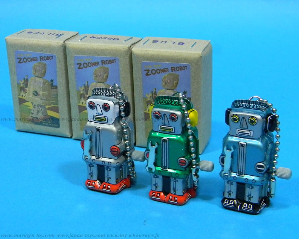 (Sankou-Seisakusyo made in Japan Tin Toys)No.218K Wind-Up Mini Zoomer Robot Ball-Chain (Assorted 3 Colors)