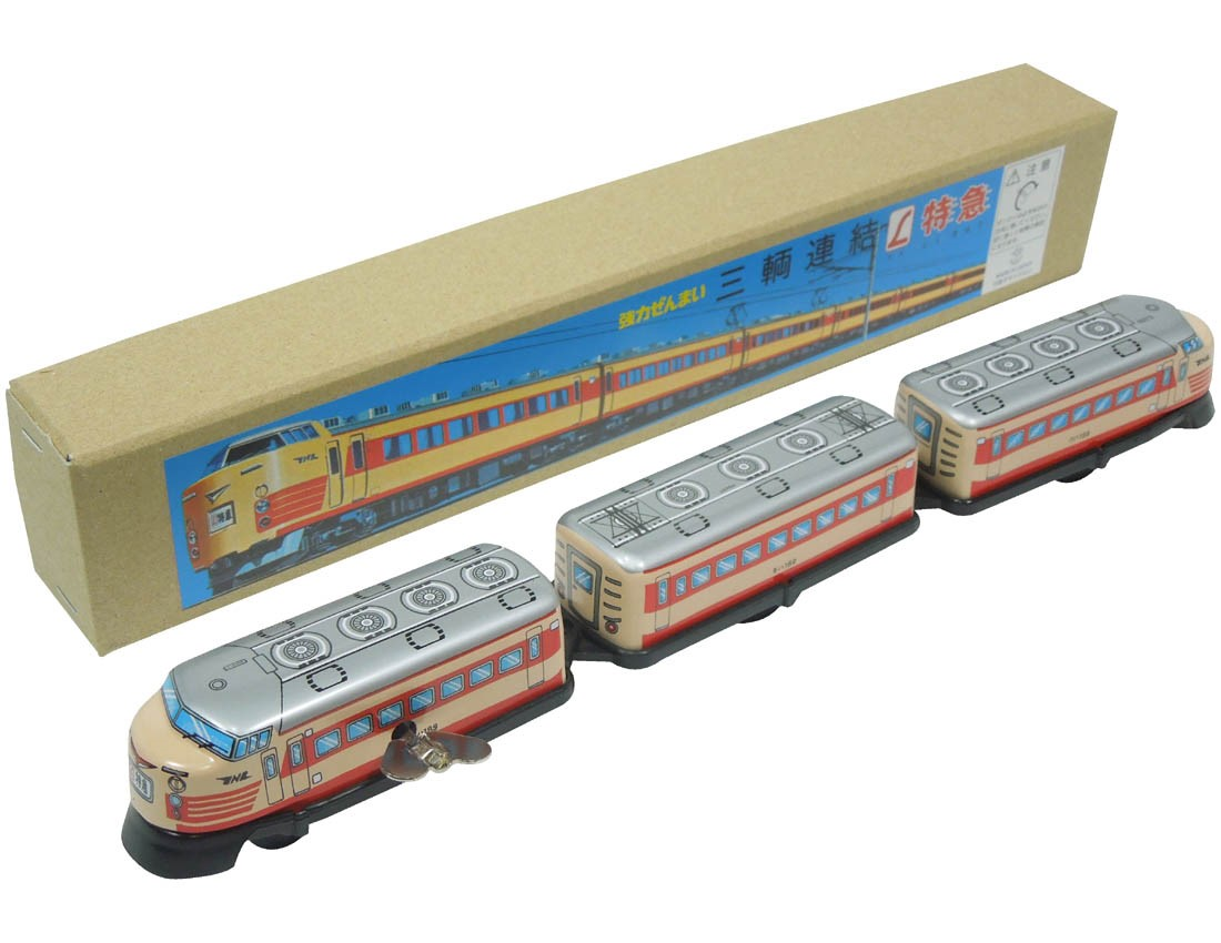 (Sankou-Seisakusyo made in Japan Tin Toys)No.1235 Three-Car Tin L Express Train 0 Line -Made in Japan-