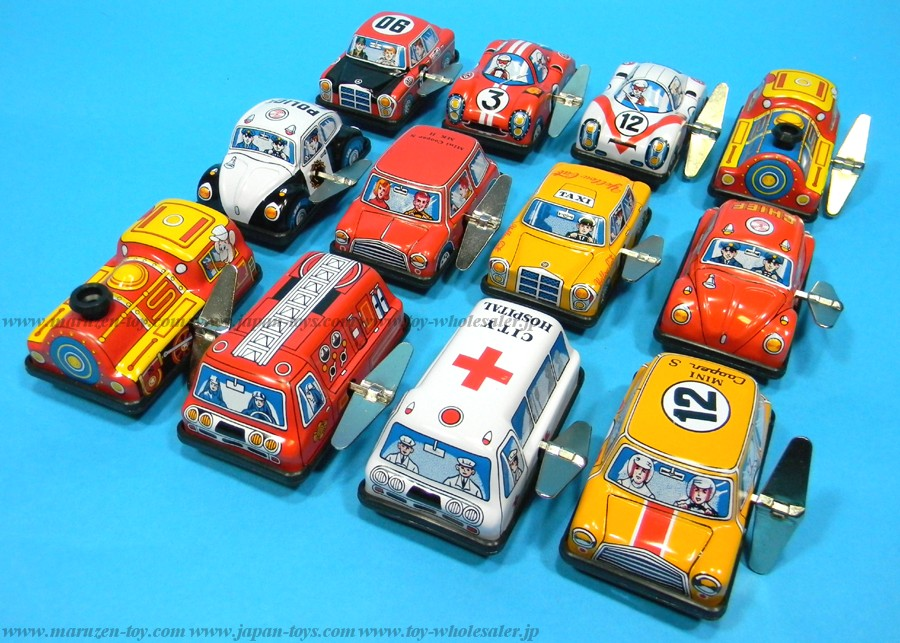 (Sankou-Seisakusyo made in Japan Tin Toys)No.103 3'' Wind-Up Twelve-Piece Vehicle Set -Made in Japan-