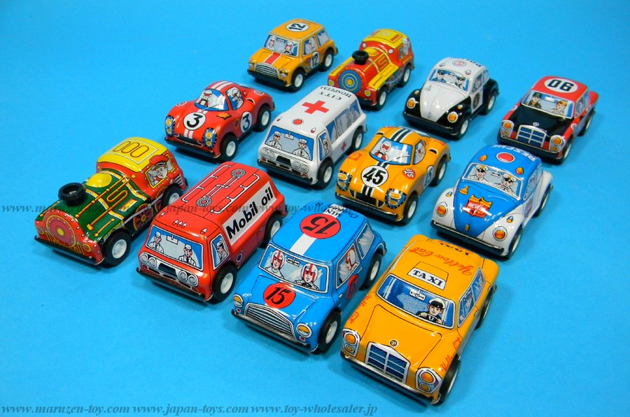 (Sankou-Seisakusyo made in Japan Tin Toys)No.102 3'' Friction Twelve-Piece Vehicle Set -Made in Japan-