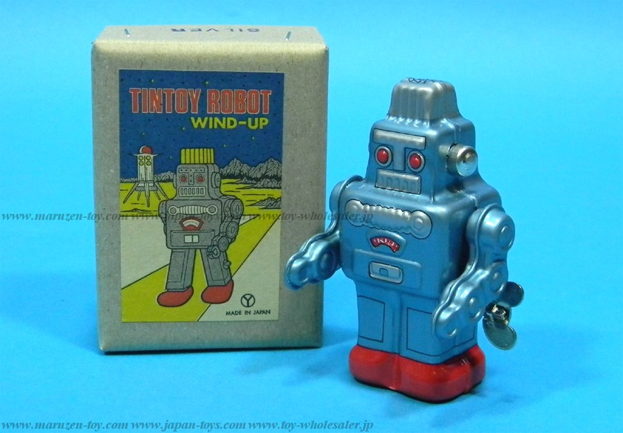 (Sankou-Seisakusyo made in Japan Tin Toys)No.204 Wind-Up Robot (Blue) -Made in Japan-