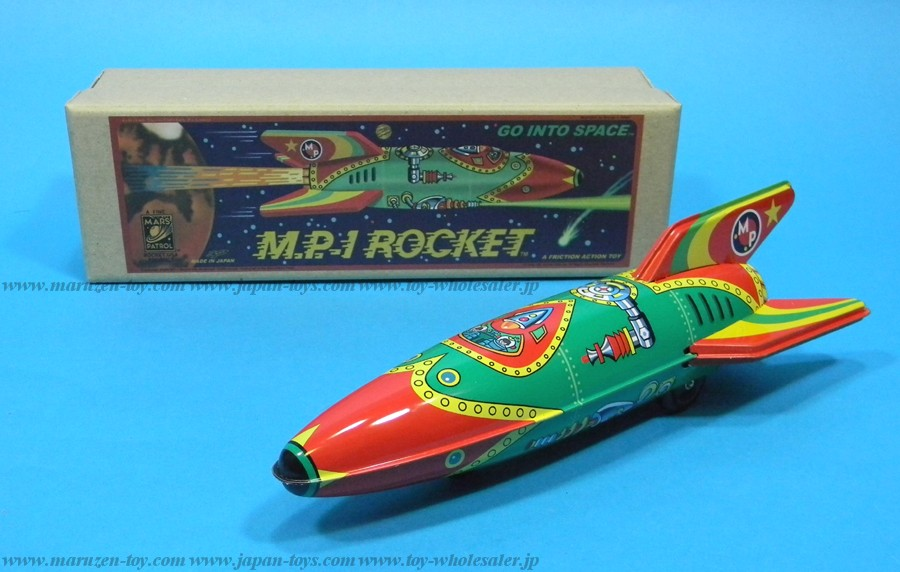 (Sankou-Seisakusyo made in Japan Tin Toys)No.209 M.P.1 Tin Friction Jet Rocket (Green Type)-Made in Japan-