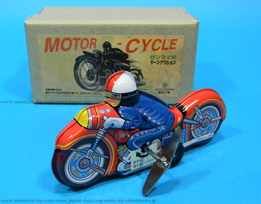 (Sankou-Seisakusyo made in Japan Tin Toys)No.225 Tin Motorbike Figure -Made in Japan-