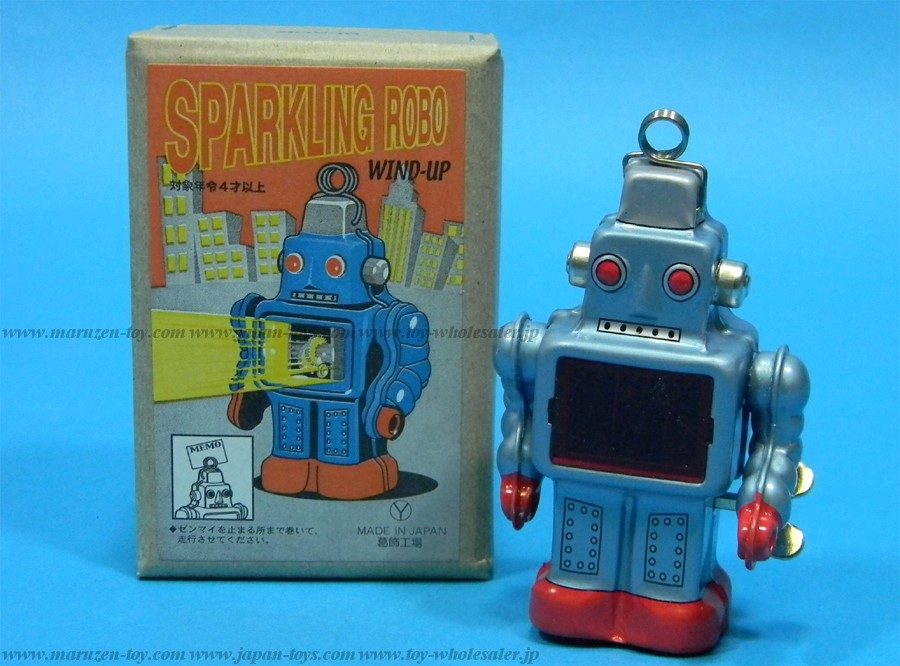 (Sankou-Seisakusyo made in Japan Tin Toys)No.227 Wind Up Walking Sparkling Robot (Blue) -Made in Japan-